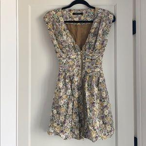 Flower patterned short sleeved zipper dress